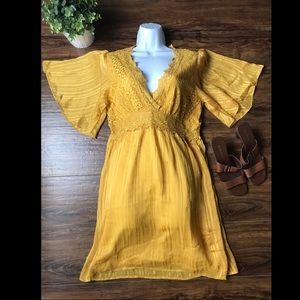 Mustard / yellow lace boho / gypsy dress